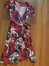 Monsoon Blue Red White Wrap Dress. Size 12