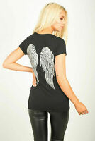 Womens Ladies Round Neck Short Sleeve Sequin Angel Wings Back T Shirt Casual Top