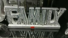 Crushed Crystal Diamond Silver FAMILY sign Ornament,home decor Shelf Sitter NEW