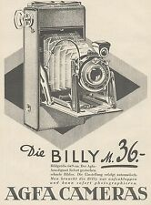 J1458 AGFA Cameras - Billy 36 - Pubblicità grande formato - 1929 Old advertising