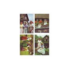 Lot 4 Cartes Postales Vierges - Couleurs - Folklore Jeunes Filles En Costume