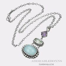 Authentic Lori Bonn Silver Leave An Impression Triple Drop Pendant 18 510501QAZM