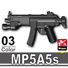 MP5A5S (W154) Black Sub Machine Gun compatible w/toy brick minifigures Army SWAT