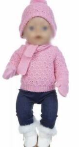 Puppenkleidung 43 cm, Outfit, Winter, Strick, rosa, NEU
