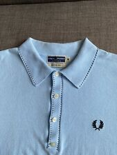 "Fred Perry Reissues Broken Tip Light Blue Knitted Polo Shirt M 38"" Mod Ska Skins"