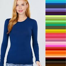 Womans T Shirt Crew Long Sleeve Light Weight Active Basic Stretch Top S/M/L