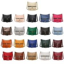 Tassel Women Messenger Solid Color Handbags Shoulder Leather Crossbody Satchel