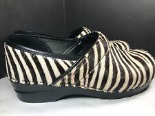 Women's SANITA Zebra Cowhide Hair Clogs,  Size 41, (US size 8.5 to 9)