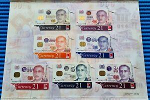 001175 Singapore Portrait Series $2, $5, $10, $50, $100, $1000 & $10000 Cashcard