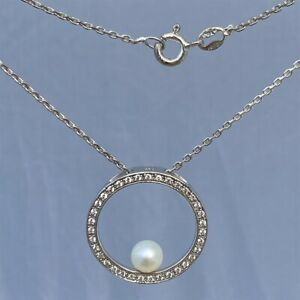 Sterling Silver Pearl & Cubic Zirconia DQ CZ Pendant Necklace Chain 4.80g