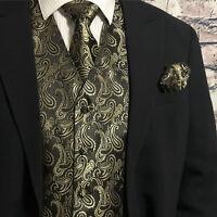 Gold / Black Men Paisley Tuxedo Suit Dress Vest Waistcoat & Neck tie Hanky Set