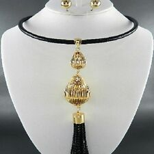 Elegant Chunky Gold/Black Metal Chain Tassel Drop Bib Statement Necklace Set