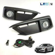 Clear Lens Driving Fog Lights Kit For 2019-2020 Civic Sedan w/Bezel Switch Wires