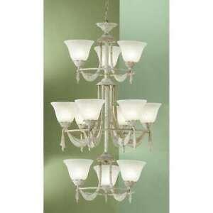 Classic Lighting Saratoga Cast & Glass Chandelier, White Wash - 67912WW