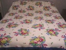 Vintage Bedspread Quilted Coverlet Garden Flower Bouquets 1970s Blue Red Yellow