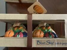 Blue Sky Clayworks Cornucopia Holiday Thanksgiving Salt Pepper Shakers Boxed