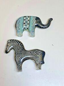 Abraham Palatnik Lucite Elephant & Zebra Mid-Century Pop Art Sculptures~2 pcs