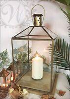Tea Light Lantern Holder Candle Style Antique Vintage Gold Brass Glass Copper