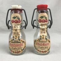Kirschwasser & Edel Kirsch Vintage Empty Mini Glass Bottles Cherry Liqueur Swing