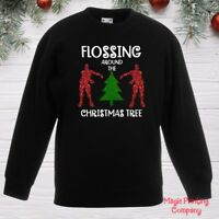 Boys Kids CHRISTMAS JUMPER FLOSSING AROUND TREE Sweatshirt Girls outfit Gift