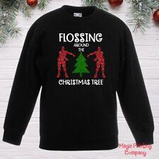 Boys Kids CHRISTMAS JUMPER FLOSSING AROUND TREE Sweatshirt Girls outfit Gift