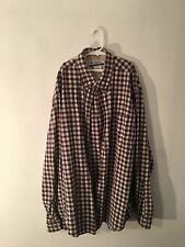 Columbia Button Down Shirt, Size xtra Large Plaid design, white,brown, blue, red