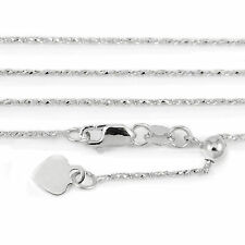 14k White Gold Adjustable Raso style Chain Necklace, 24 inches (NEW, 4.0g) 2980b