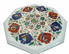 """12"""" Marble Side Table Top Gemstone Pietra Dura Handcrafted work Christmas Gifts"""
