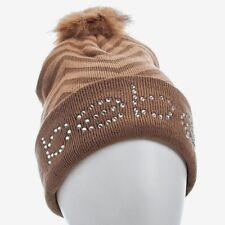 BEBE Women's Beanie Winter Hat Pom Pom Tan Brown Big Logo Rhinestone New w Tags