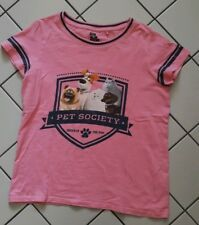 Pets Mädchen T-Shirt NEXT Gr.152/12 J. pink mit dunkelblau