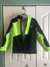 Spyder Green Black Boys Youth Flyte Full Zip Insulated Snowboard Jacket L 14 16