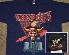 "VINTAGE 00's THE ROCK ""MILLENNIUM"" WWF ATTITUDE ERA WRESTLING WWE SHIRT SMALL"