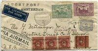 BATAVIA Netherlands Dutch East Indies Airmail Cover Commercial Flight to USA
