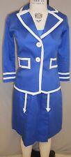 WOVEN WOMENS STEWARDESS COSTUME BLUE+WHITE TRIM JACKET/DRESS SET size-