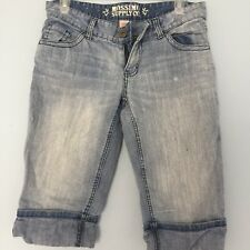 Mossimo Supply Co Cropped Jeans Capri Shorts Light Wash Size 7 Junior Cuffed