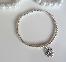 Good Luck Clover leaf charm Wish Silver plated ball beads bracelet stacking boho