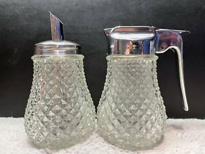 Vintage Glass Milk Jug & Sugar Dispenser with Chrome Tops / Café - Retro