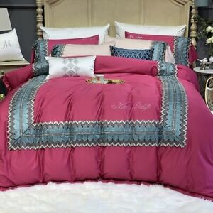 Luxury Egyptian Cotton Embroidery Duvet Cover Fitted Sheet Bedding Set 4/7pcs