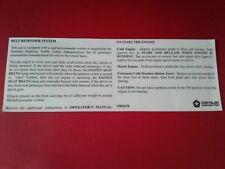 NOS 1973-1988 Chrysler-Dodge-Plymouth A-B-C-E Body Sun Visor Label.