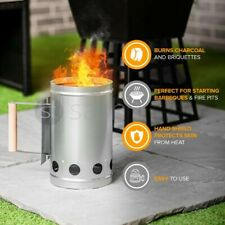 More details for barbecue bbq chimney starter charcoal grill steel rapid quick fire lighter coal
