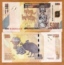 Congo D. R., 5000 (5,000) Francs, 2013 (2017), P-102b, UNC > Zebras