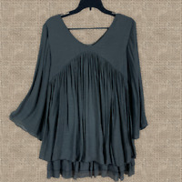 PLUS SIZE Charcoal TIERED RUFFLE BOHO Peasant VINTAGE 70 BABYDOLL TOP TUNIC Xl