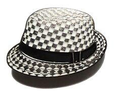 Enamel Badge Black & White Chequerboard SKA Hat 2 Tone Reggae Band Music Lover