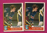 2 X 1974-75 OPC # 102 RANGERS ROD SEILING  CARD (INV# 7767)