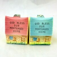 Vtg God Bless Our Mortgaged Home House Figural Salt & Pepper Shakers S & P Set