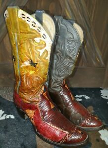 Rare! VTG JUSTIN COWBOY BOOTS Multicolor SNAKESKIN LEATHER Made in USA Signed 9D