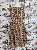 *BNWT* Sleeveless Silky Owls Retro Lolita Midi Tea Dress Size M/L 12 14 Kawaii