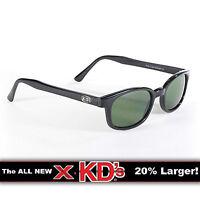 X-KD's Black Frame Dark Green Lens Sunglasses XKD Motorcycle Riding Glasses X KD