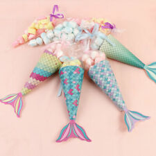12×Mermaid Gift Bags Candy Boxes Mermaid Party Popcorn Holder Bag Kids Birthday