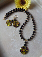 Wunderschöne Halskette + Ohrhaken Perlmutt Leopardenmuster-schwarz-gold UNIKAT